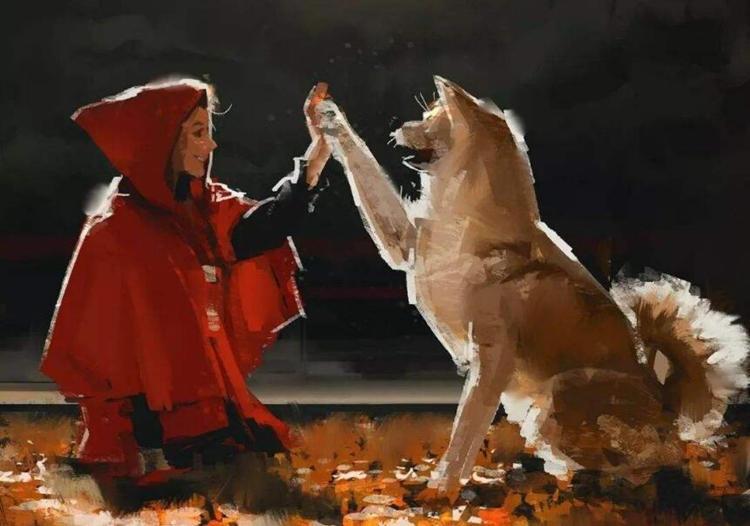 柴犬和女人击掌的油画.jpg
